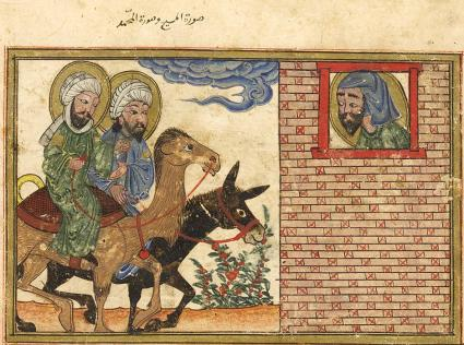 Isaiah's vision of Jesus riding a donkey and Muhammad riding a camel, al-Biruni, al-Athar al-Baqiyya 'an al-Qurun al-Khaliyya (Chronology of Ancient Nations), Tabriz, Iran, 1307-8. Edinburgh University Library.